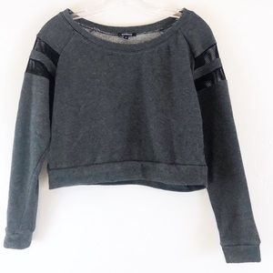Ambiance Gray Mesh Cropped Sweatshirt Sz S